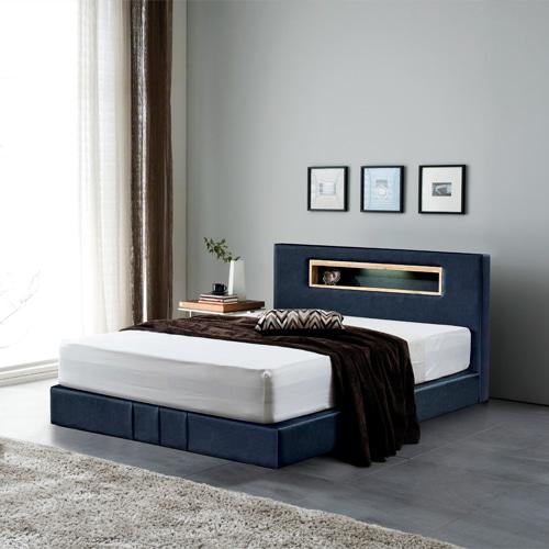 PU 조명 Q 침대 (매트리스 별도)