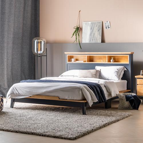 니모 원목 수납형 Q,K 겸용 침대 (매트리스 별도)