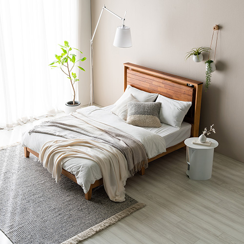 브론디 고무나무 Q,K 겸용 침대 (매트리스별도)