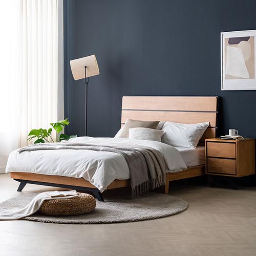 베스트 고무나무 Q,K 침대 (매트리스 별도)