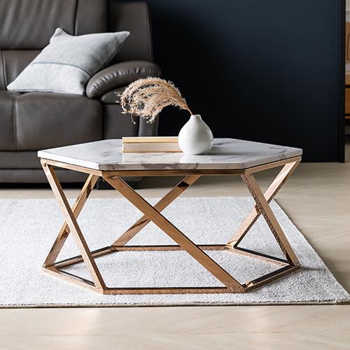 로즈골드 대리석 정육각형 테이블